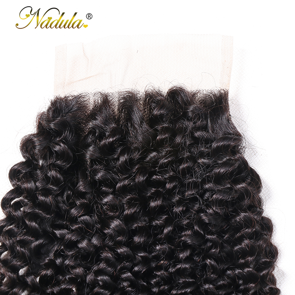 Nadula Hair Kinky Culry  Closure 10-20inch Swiss Lace Closure 4*4 Lace Closure 100% Human  Hair Natural Color 4