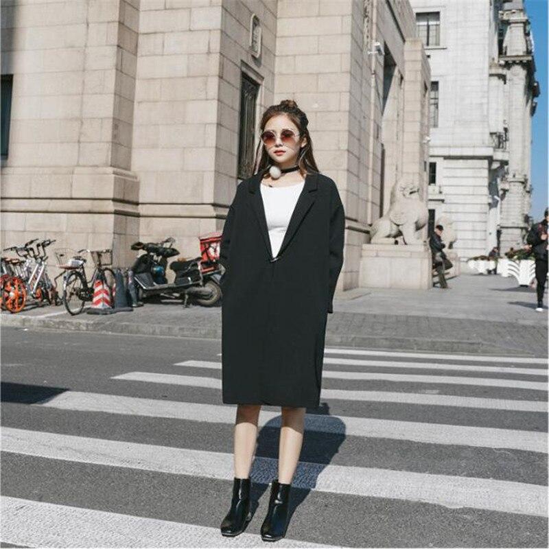 Long Blazer Femmes Printemps Automne 2019 nouvelle mode Mince décontracté combinaison manches longues Femelle Unique Bouton Noir Femmes de Blazer A3981