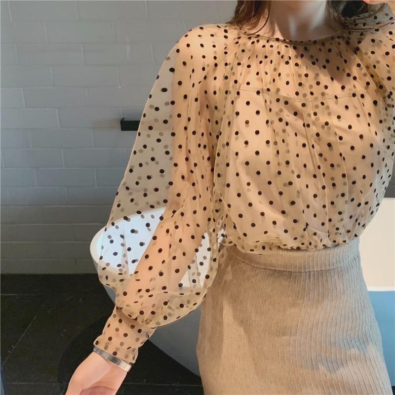 BGTEEVER Elegant O-neck Lantern Sleeve Polka Dot Women Blouses Shirt See Through Mesh Female Shirts Casual Tops chemise 2019 3