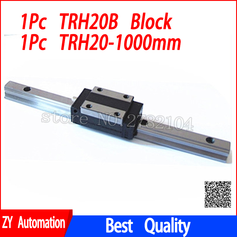 New linear guide rail TRH20 1000mm long with 1pc linear block carriage TRH20B or TRH20A CNC parts