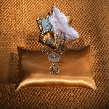 Luxury Bedding set Queen King size Golden Silver Satin Cotton Bed set Doona Duvet cover Bed sheet set juego de cama linge de lit 5