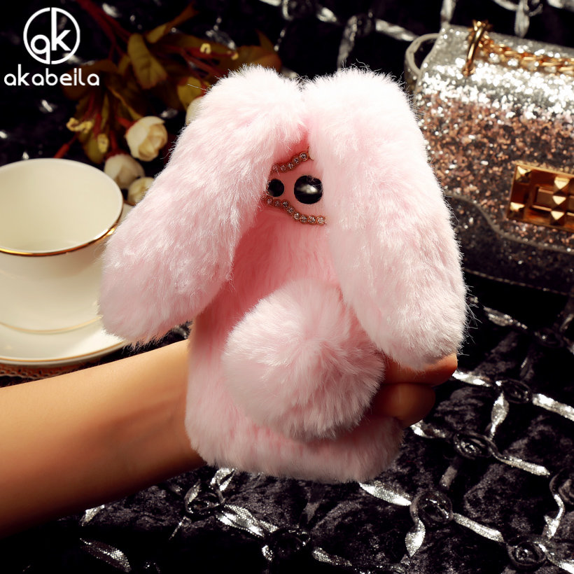 AKABEILA Rabbit Hair Silicone Phone Cases For Alcatel OneTouch Pixi 4 5.0 inch OT-5045 5 ...