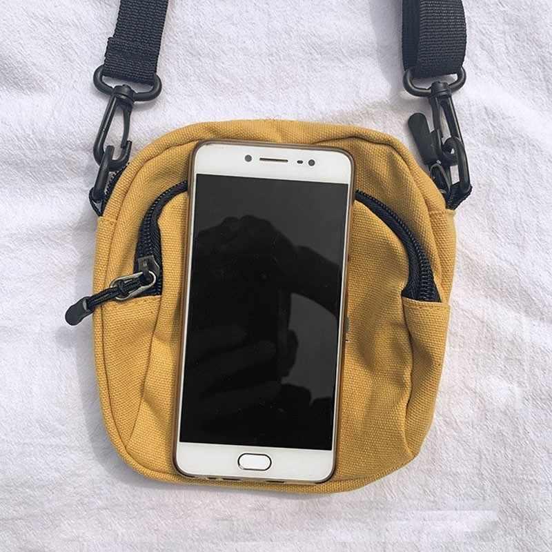Vrouwen Canvas Handtassen Koreaanse Mini Student Tas Mobiele Telefoon Zakken Eenvoudige Kleine Crossbody Tassen Casual Dames Flap Schoudertas