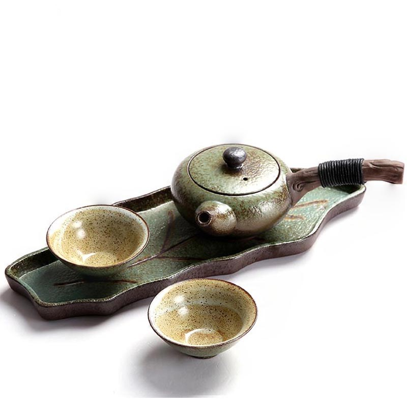 Handmade Portable Outdoor Travel Office Car Quik Cup 1 Teapot 2 Cups 1 Tray Ceramic Coarse Pottery Kung Fu Tea Set DrinkwareHandmade Portable Outdoor Travel Office Car Quik Cup 1 Teapot 2 Cups 1 Tray Ceramic Coarse Pottery Kung Fu Tea Set Drinkware