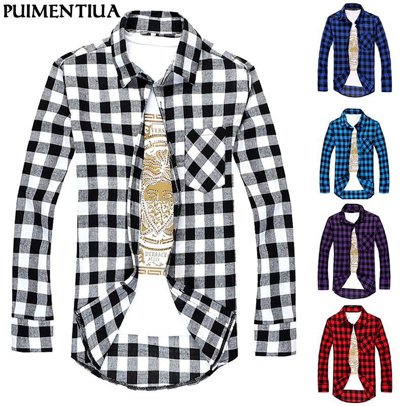 Puimentiua Plaid Men Shirts Summer Chemise Homme Mens Checkered Long Sleeve Shirt Men Blouse Camisa (suggest buy 2 size up)