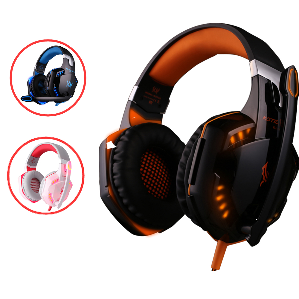 KOTION EACH G2000 Subwoofer Gaming Headphones with Microphone for Computer Stereo Deep Bass Headset PC Gamer with LED Light computer stereo gaming headphones kotion each g100 best casque deep bass game earphone headset with mic led light for pc gamer