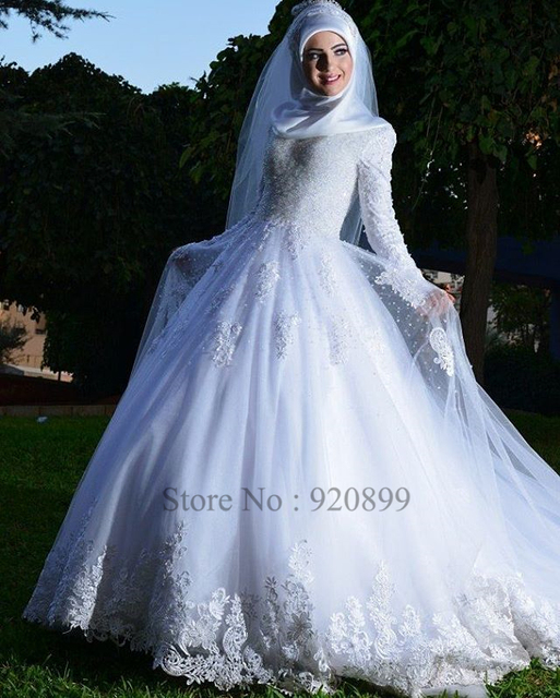 turquía blanco manga larga vestido de boda ata para arriba los