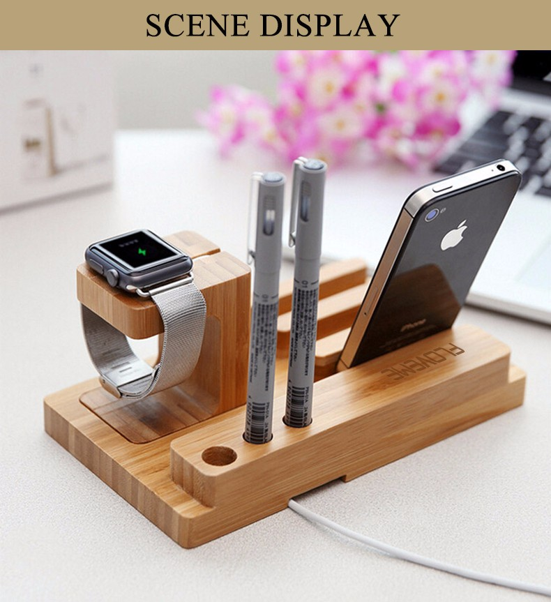 For iPhone Apple iWatch Wood Charge Holder (12)