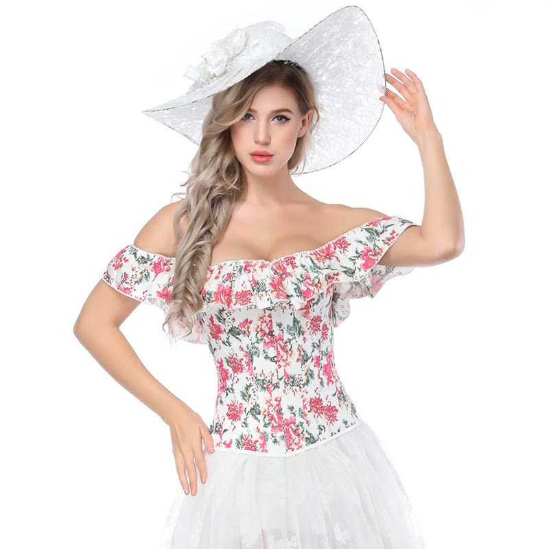 Elegant Lolita Style Overbust Corset Sexy Slimming Waist Trainer Floral Printed Off Shoulder Ruffles Party Corselet For Women