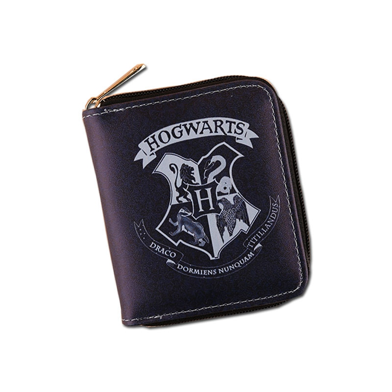 Mini Magic Harry Potter New Wallets Short Simple Women Leather Purse Hogwarts Academy Anime Wallets Zipper Coins Cards Holder