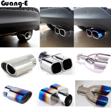 цена на car styling frame cover muffler exterior end pipe dedicate stainless steel exhaust tip tail 1pcs for Hyunda1 Tucson 2015 2016