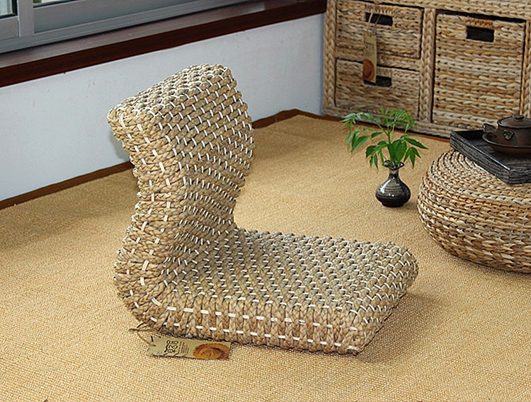 Handmade Japanese Legless Chair Made From Banana Leaves Seating Room Furniture Asian Traditional Tatami Floor Zaisu Chair