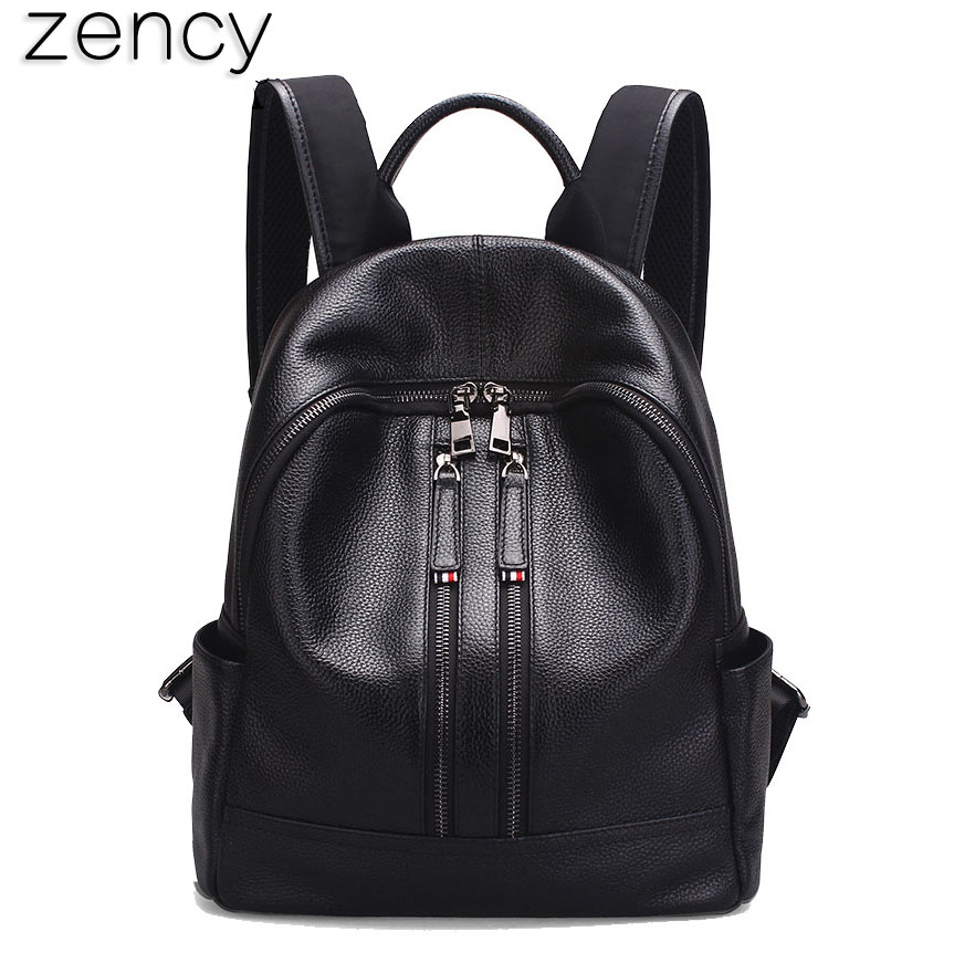 Zency Summer Shopping Backpack Large Small Two Size Genuine Leather Women's Backpacks Ladies Girl's School Bag Real Cow Mochila