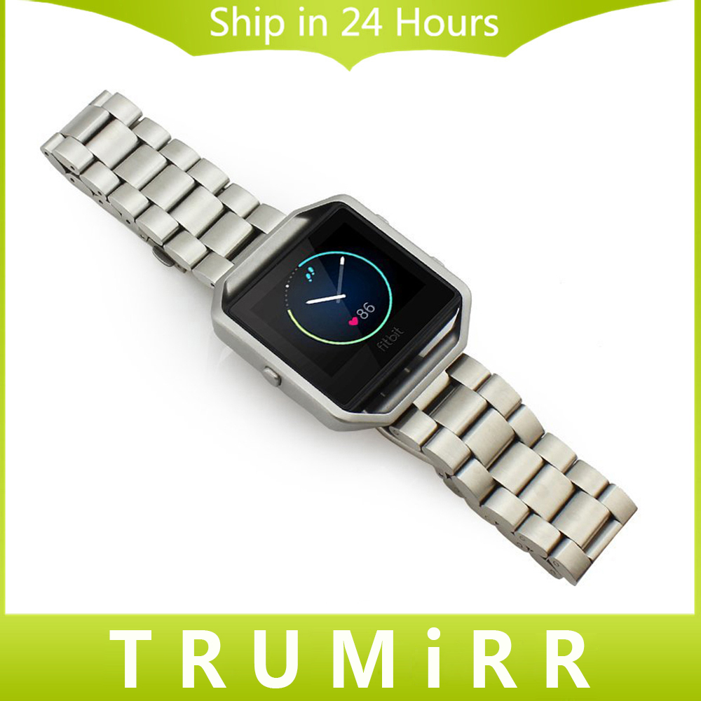 23mm Watchband Stainless Steel Band Bracelet Strap Replacement for Fitbit Blaze Smart Fitness Watch w/ Quick Release Spring Bars magnetic milanese loop watch band stainless steel replacement links bracelet strap for fitbit blaze smart fitness watch strap