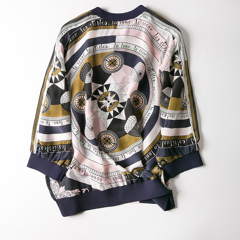New baseball collar printed silk air conditioning cardigan is prevented bask in clothes - 4