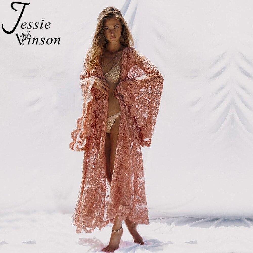 Jessie Vinson grande taille manches longues dentelle Long Cardigan femmes Perspective Kimono Cardigan femme longue plage maillot de bain couvrir