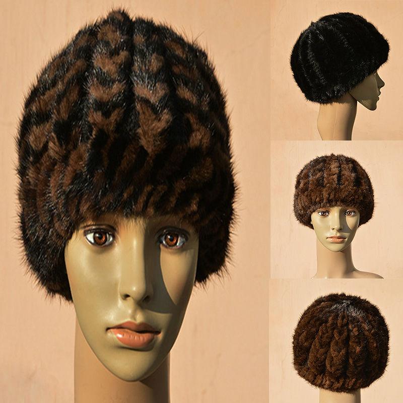 ФОТО Mink fur hat Unisex true fashion warm mink knitted hat  100% Mink winter thick warm pumpkin hat  Elastic cap