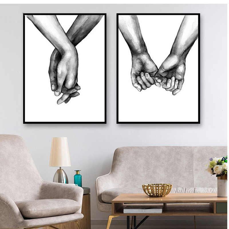 Nordic poster nero bianco a mano in mano immagine stampa su tela amante citazione pittura di arte della parete per soggiorno decorazione minimalista