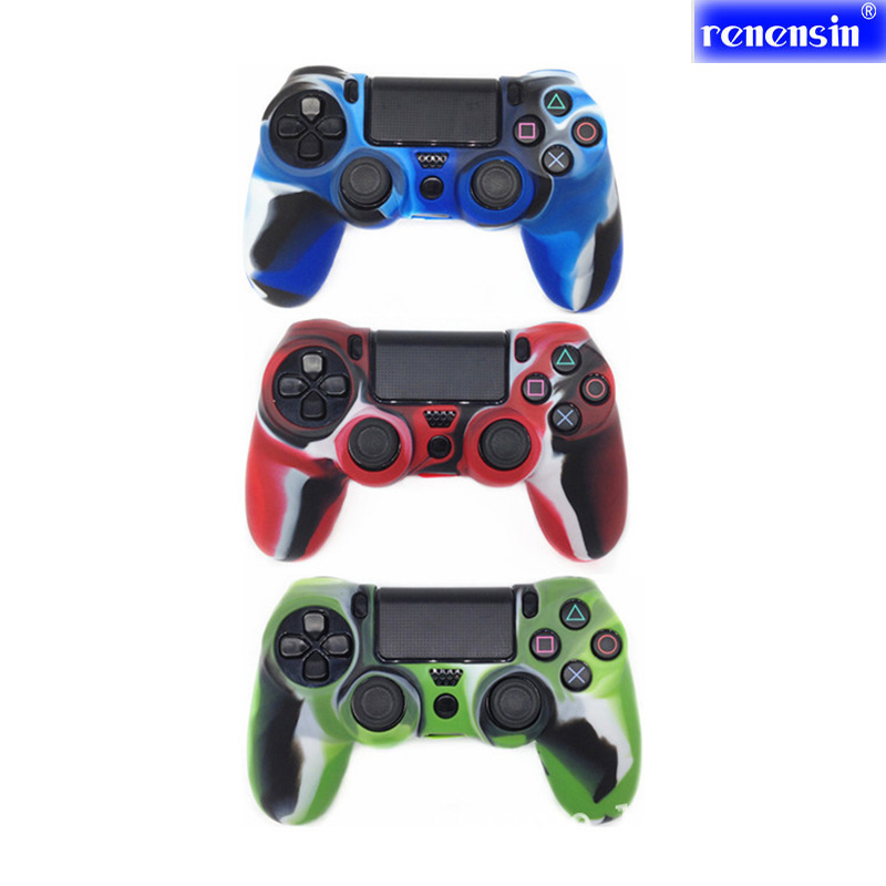 Renensin 3pcs/lots Camouflage Silicone Protetion Case Skin Grip Cover for Sony ps4 Game Controller Dualshock 4 Console Decals