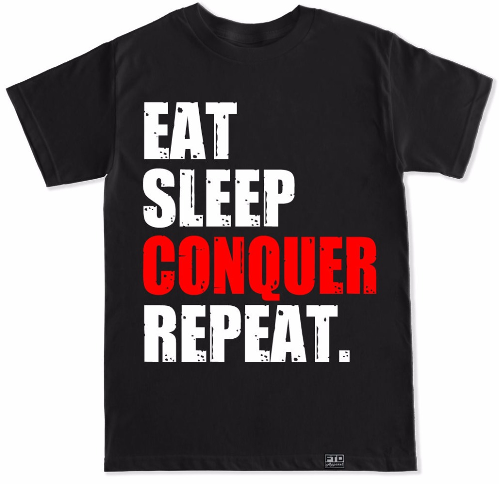 Eat Sleep Conquer Repeat Gymer Workout Squats Weights Funny T Shirt
