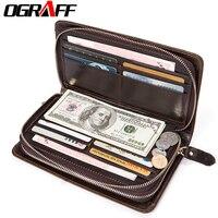 OGRAFF Genuine Leather Men Wallets Credit Card Holder Man Wallets Phone Coin Purse Money Male Clutch