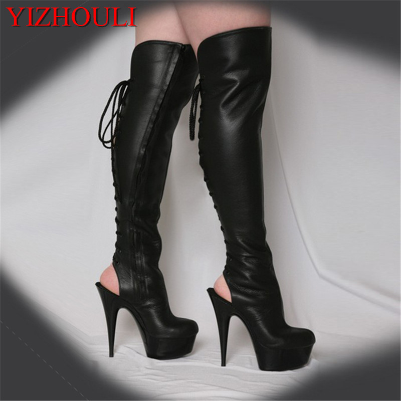 15cm Hot Sexy Night Club boots Motorcycle Boots womens summer boots 6 inch high heel peep toe strappy thigh high stiletto boots 2016 new arrival 15cm ladies motorcycle autumn and winter boots round toe 6 inch high heel boots sexy flock buckle boots