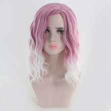 цена на Medium Long Wavy Pink White Ombre Wig Synthetic Hair Natural Lolita Cosplay Wigs For Women High temperature Fiber Hairpiece