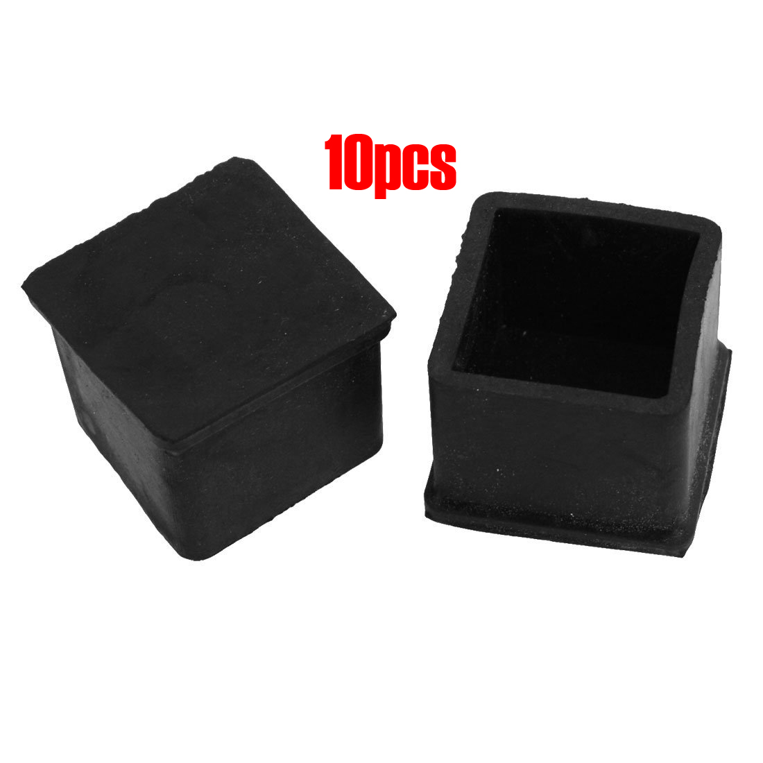 FJS!10 Pcs Black 30mm x 30mm Furniture Foot Protector Square Rubber Covers case rubber round table foot cover protector 8mm inner dia 24 pcs