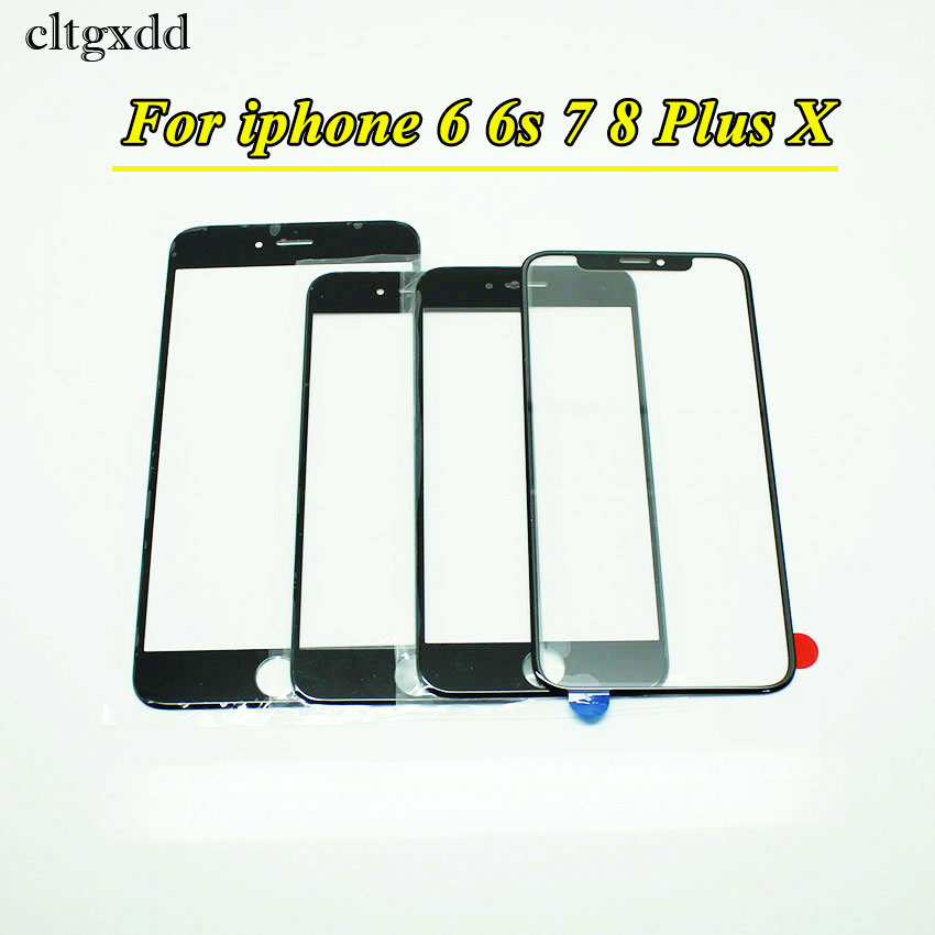 cltgxdd Black White New Outer Glass for iPhone 6 6G 6S Plus 7 8 Plus 6P 7P 8P LCD Touch Screen Digitizer Front Glass Lens Repair image