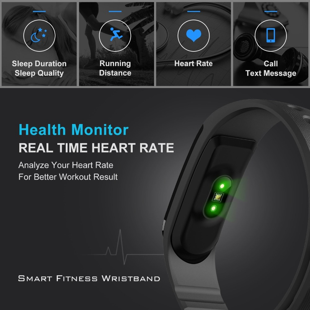 JAYSDAREL ID101 HR Heart Rate Smart Watch Sport Multi-sport Modes Fitness Tracker Smart Bracelet for Android iOS Phone