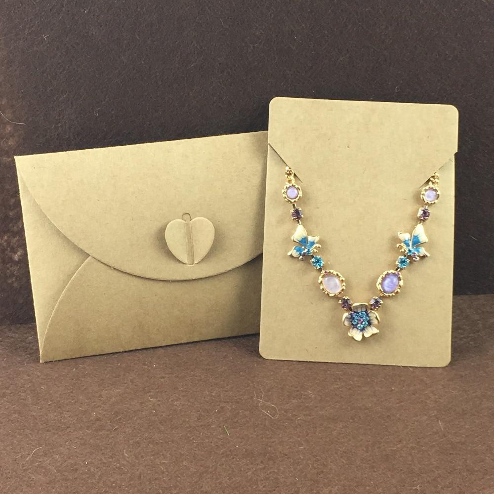 100 세트 크리 에이 티브 봉투 접어 꽃 봉투 가방 웨딩 약혼 선물 사랑 보석 목걸이 장식 포장-에서보석 포장 & 디스플레이부터 쥬얼리 및 액세서리 의  그룹 3