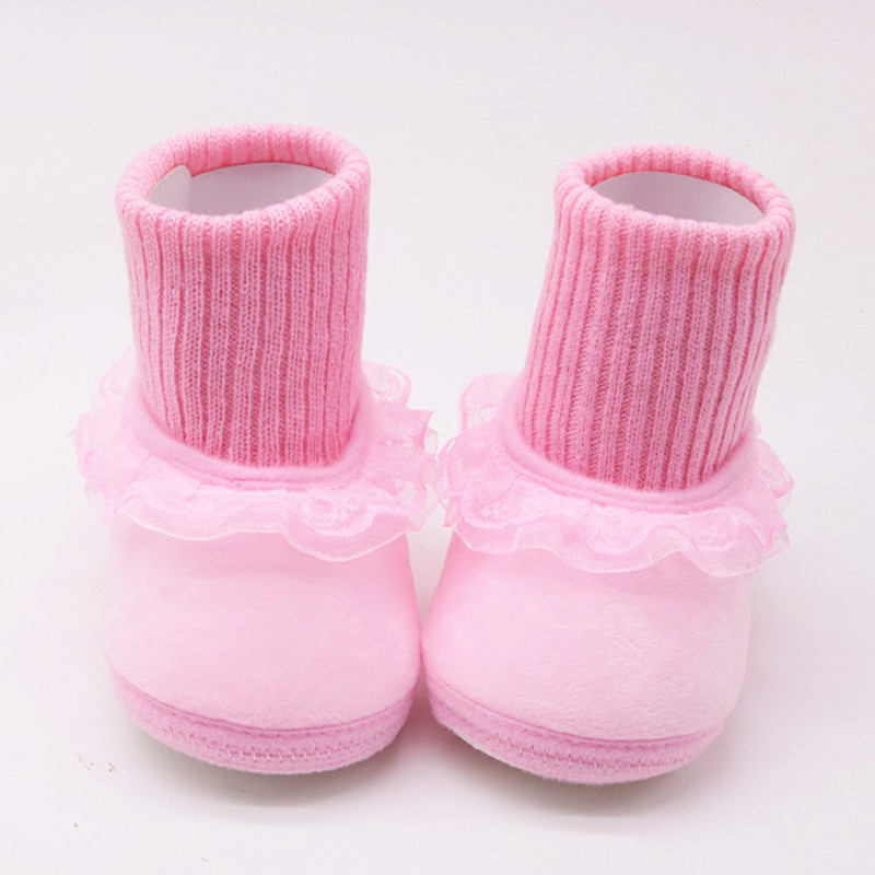 First-Walkers Shoes Knitted Booties Baby Baby-Girl Lace for Anti-Silp Crib