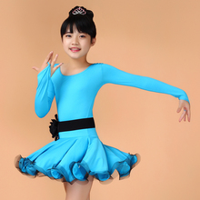 Girls Long Sleeves Latin Dance Dress Salsa Dance Dress  Latin Ballroom Custome Tango Rumba Cha Cha Costume