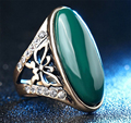 Carved Agate Ring Antique Silver Plate Natural     Jewelry Vintage Retro Chinese Jade Rings Zircon Big Stone Ring For Women