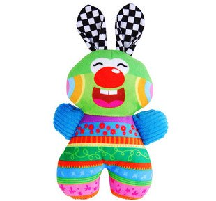 Candice guo! Colorful hot sale baby toys plush rabbit shaped tow sides hand hold doll toy 1pc