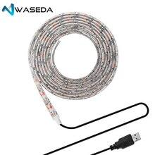 Васеда 5В USB Мощность Светодиодные ленты свет белый/WarmWhite 5050 SMD HD ТВ настольных ПК Экран Подсветка & светильник 0,5/1/2/3 м клейкие ленты