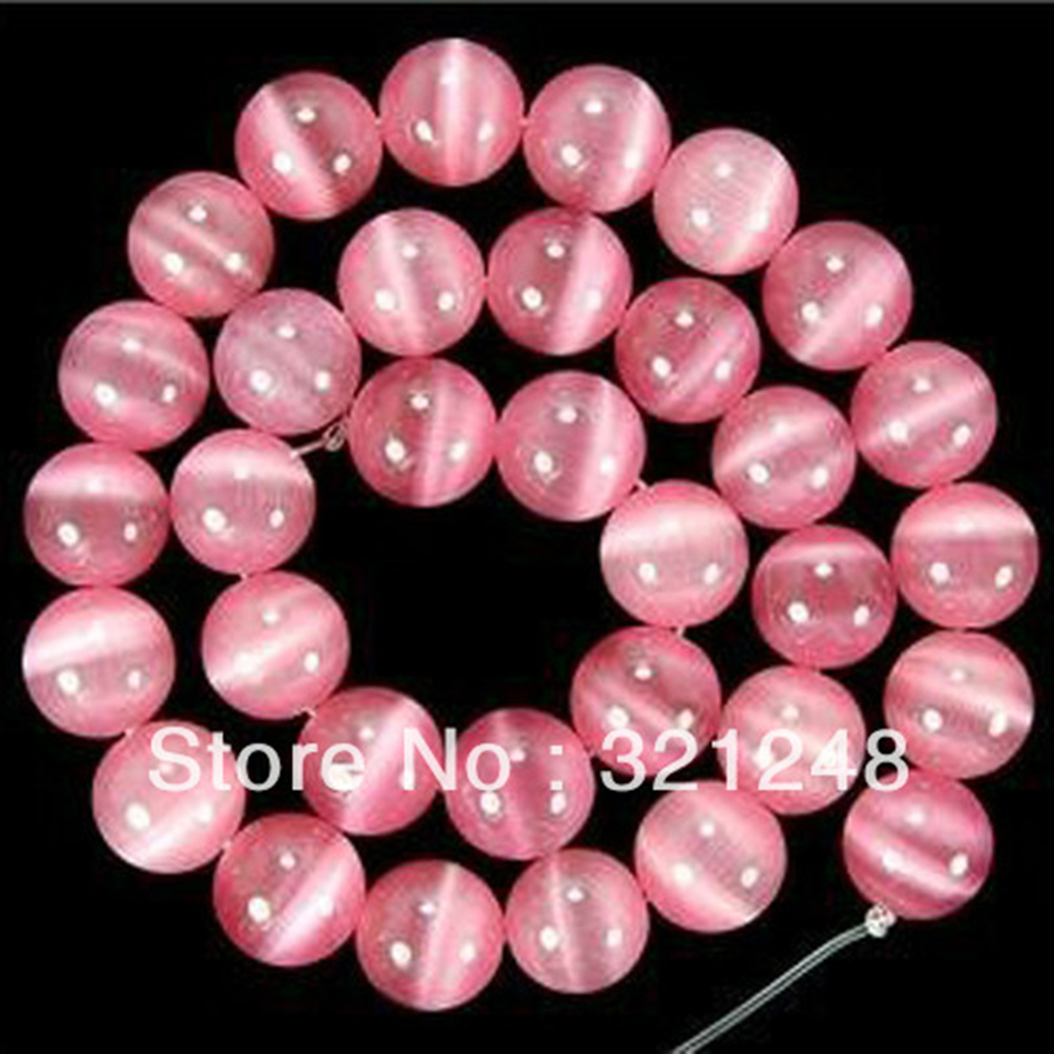 Charms 10mm pink Mexican opal stone crystal cat eyes round loose beads for jewelry making spacers acceessories 15inch GE1162