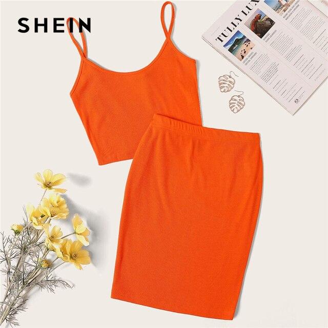 Шеин неоновый оранжевый Rib-Knit короткий топик на бретельках Топ и узкая юбка набор сексуальный однотонный без рукавов 2 шт. набор Спагетти ремень женский комплект