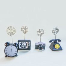 4patterns wooden cards note holder cute TV camera clock telephone shape wood memo holders school office stationey(China)