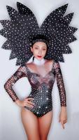 Модные яркие черные стразы с длинными рукавами сексуальное боди Женский танцевальный наряд певицы карнавальный наряд сценическая одежда DJ