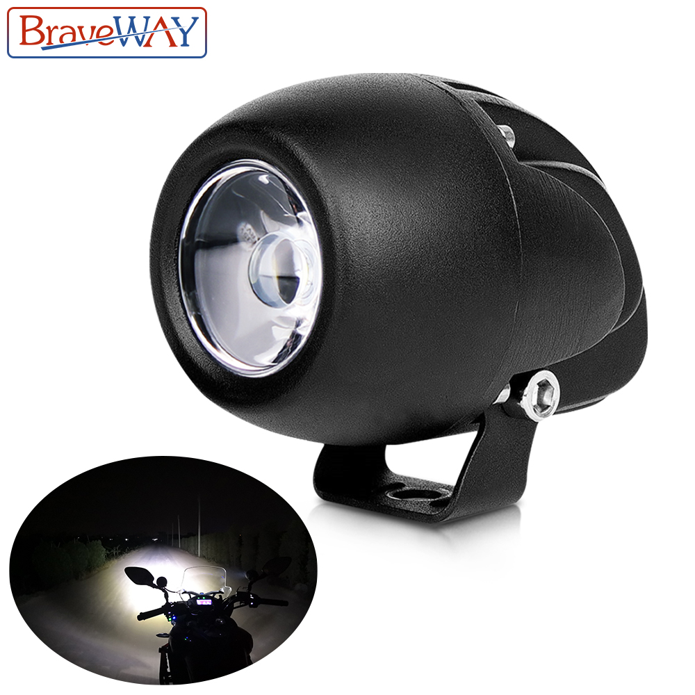 BraveWay LED Motorcycle Headlight Fog Lamps Extra Light For Motorbike ATV Truck Assisted Lamp Moto Auxiliary Driving DRL 12V 24V
