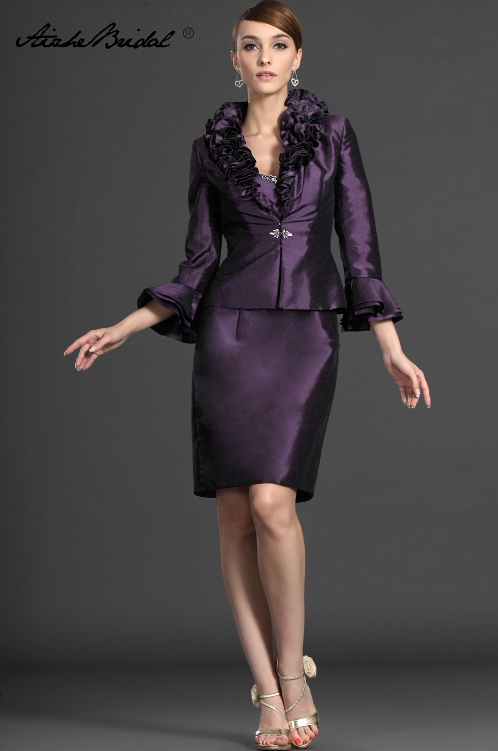 Formal Women's Dress Short Mother Of The Groom Dresses Elegant Grape Taffeta Mother Of The Bride Dress With Jacket