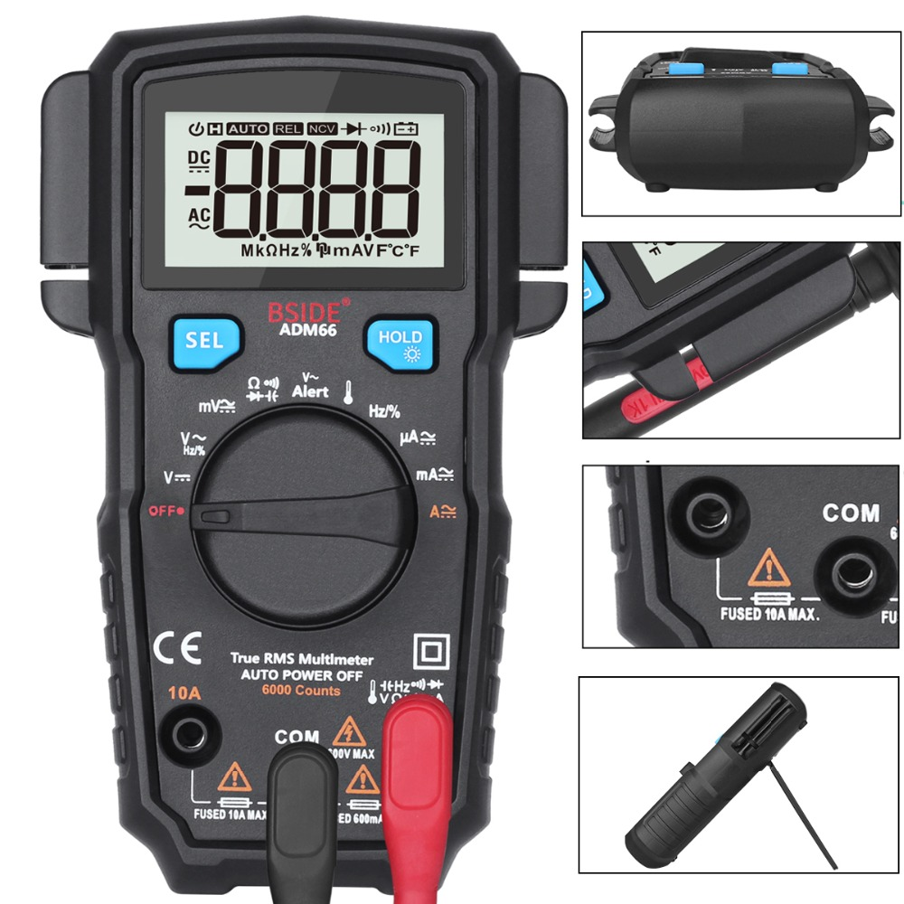Portable Digital Multimeter BSIDE ADM66 Auto Range True RMS Multimetro DC AC Voltmeter Ammeter Thermometer Ohm diode Tester frequency electrical tester diode detector digital handheld multimeter auto range protection ac dc ammeter voltmeter ohm