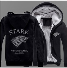 Men's Game of Thrones Hooded Casual Hoodies Clothing Fur Liner Mens Winter Thickened Warm Coat Male M-6XL Sweatshirts Outwear