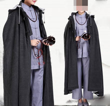 unisex gray Winter warm wool cape meditation cloak clothing zen buddhist abbot coat Lay monks martial arts suits(China)