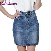Eastdamo 2017 Nieuwe Mode Sexy Bandage Vrouwen Denim Rokken Hoge taille Mini Jeans Rok Blauw OL Potlood Rokken Plus Size 3XL
