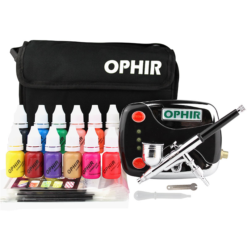 OPHIR Airbrush Nail Art Paint Set 0.3mm Airbrush Kit with Air Compressor 12 Nail Inks Stencils & Bag & Cleaning Brush_OP-NA001G  цены