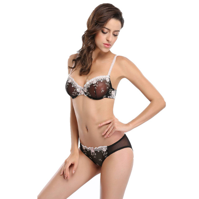 69f2b3a0b1 Embroidery Lace Bra Set Women Adjustable Push Up Linger Underwear Set  Transparent Bra and Panties Sets Sexy Luxury Lingerie Sets