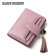 Women Genuine Leather Purses Girls Tassel Short Clutch Wallets Female Credit Card Holder Small Coin Wallets Portefeuille Femme