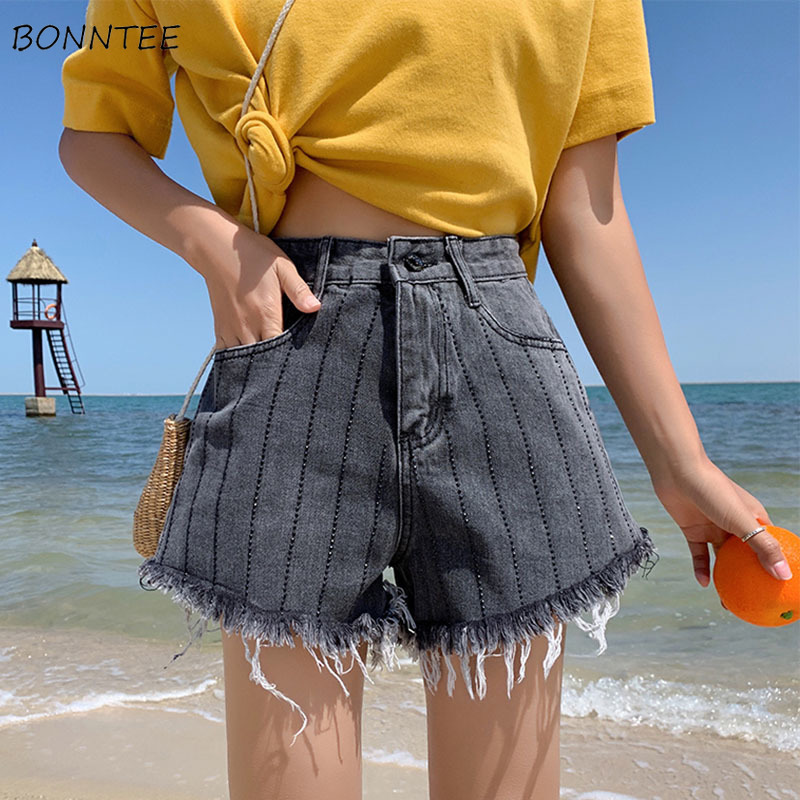 Shorts Women Korean Style Trendy Striped High Quality Female Leisure Elegant Loose Womens Summer 2019 Chic Simple All-match Chic